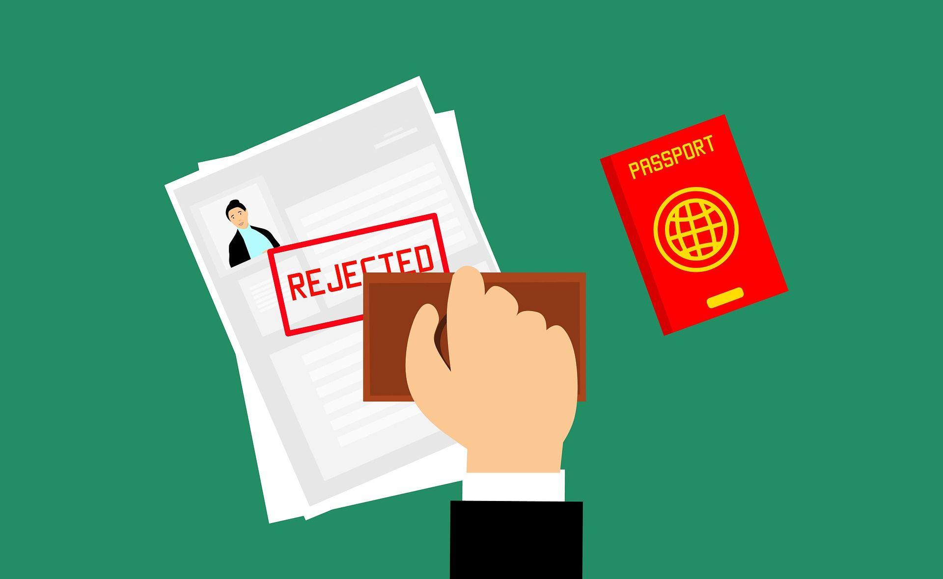 carimbo de rejeição de visto