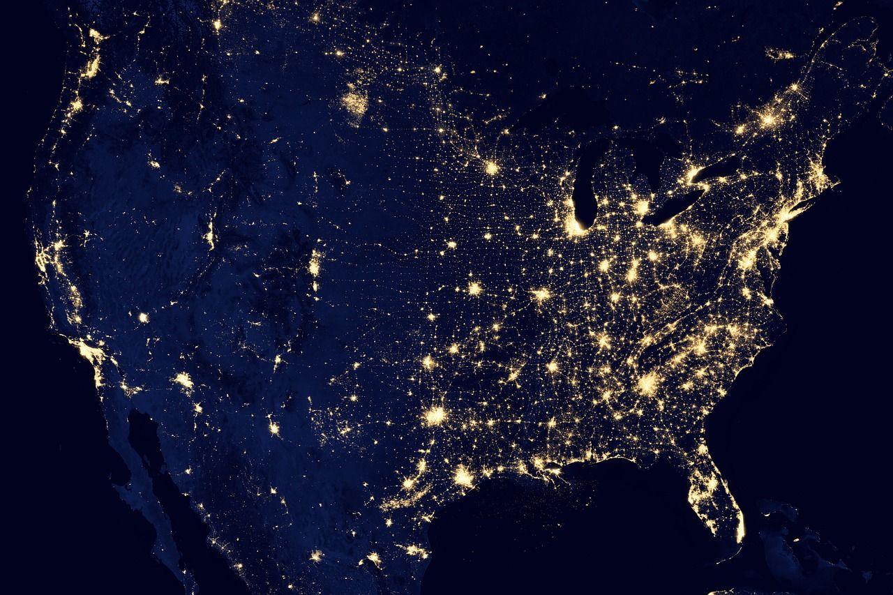 Mapa EUA visto do espaço