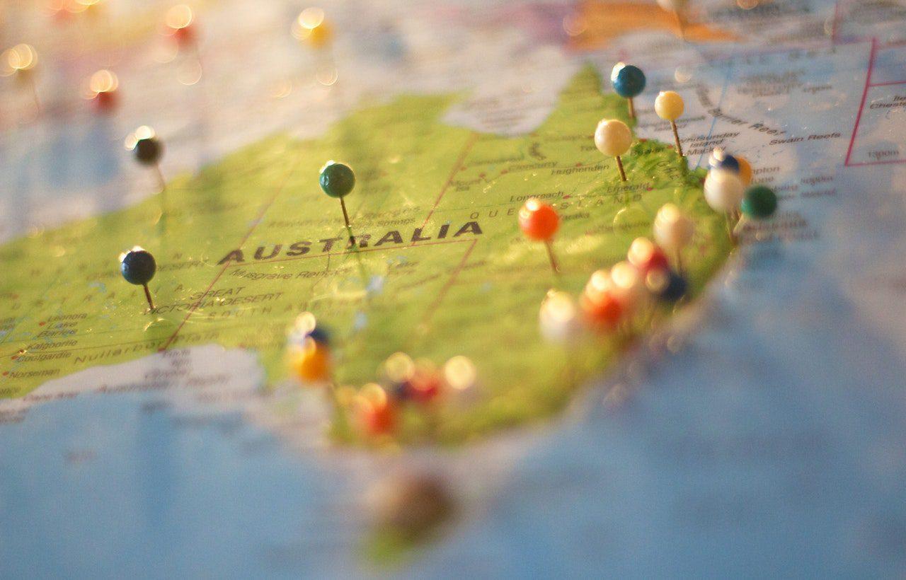 mapa da austrália com pins
