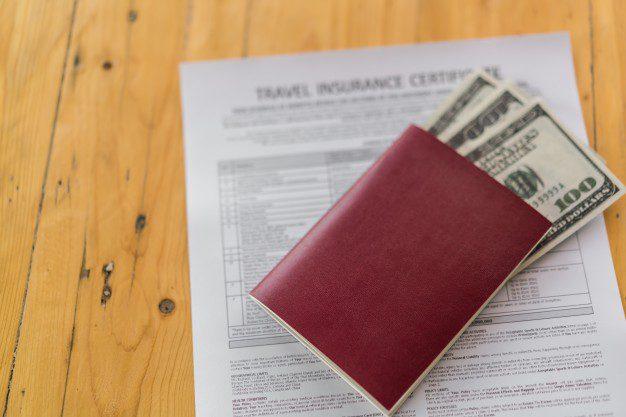 passaporte com formulário e dólares